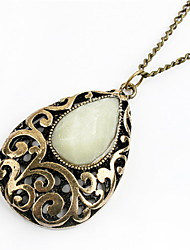 Hollow out Water Stone Carve Patterns Designs Woodwork Necklace Women Sweater Chain