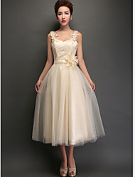 Tea-length Tulle Bridesmaid Dress - Champagne A-line Straps