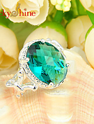 Lucky Shine Women's Men's Unisex 925 Silver Fashion Fire Oval Green Quartz Crystal Gemstone Holiday Gift Rings