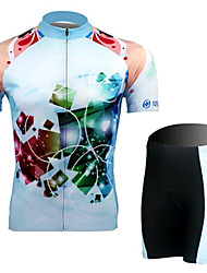 Dreamy Blue Short Sleeved Jersey Suit, Moisture Cycling Wear, Motor Function Material