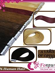 """50g / lot 18 """"-24"""" pu extensiones de cabello cinta pegamento trama piel recta # 1b # 2 # 8 marrón # 24 # 27 # 613 20pcs rubia blanqueada /"""