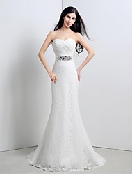 Trumpet/Mermaid Wedding Dress - Ivory Sweep/Brush Train Sweetheart Lace
