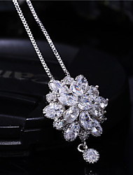 Gorgeous Women's Alloy with Clear Crystals Wedding Jewelry Cubic Zirconia Necklace (with Gift Box)