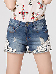 Women's Casual/Bodycon/Lovely Holes Tassel Beads Embroidery  Short Jean Pants (Cotton / Demin)