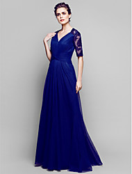 A-line Plus Sizes / Petite Mother of the Bride Dress - Dark Navy Floor-length Half Sleeve Lace / Tulle