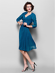 A-line Plus Sizes / Petite Mother of the Bride Dress - Ink Blue Knee-length 3/4 Length Sleeve Chiffon