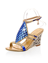 Women's Shoes Wedge Heel Wedges Sandals Outdoor/Casual Blue/Gold