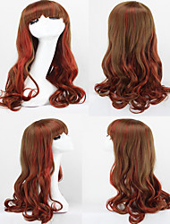 moda ombre harajuku peluca gradiente rojo rizado pelucas lolita trajes pelo synthechaircosplay