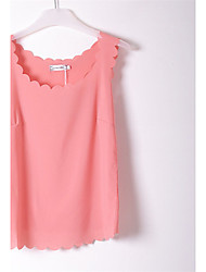 Women's Casual Inelastic Sleeveless Regular Vest (Chiffon)