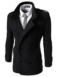 Men's Stand Coats & Jackets , Cotton Blend Long Sleeve Casual Hollow Out Winter / Fall HI MAN