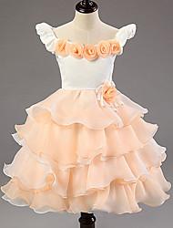 Ball Gown Tea-length Flower Girl Dress - Cotton/Tulle/Polyester Sleeveless