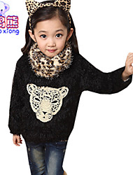 Waboats Winter Girls Leopard Printed With Scarf Velvet Mohair Top