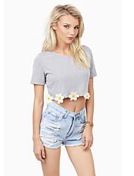 Ronde hals - Katoen - Kwastje/Bloem - Vrouwen - T-shirt - Korte mouw