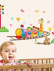 pegatinas de pared Adhesivos de pared, feliz de dibujos animados de trenes animales pegatinas