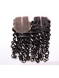 14inch-18inch Natural Black Curly Remy Hair Closure Medium Brown Swiss Lace 40g-60g gram Cap Size