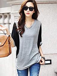 Women's Patchwork Gray T-shirt , Round Neck ½ Length Sleeve