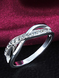 Silver Plated Party/Daily Elegant Cross Rhinestone Band Rings 1pc