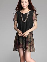Women's Multi-color Dress , Casual Short Sleeve