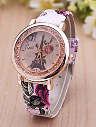 relojes de las mujeres nuevo reloj de cuarzo cristal móvil estilo subieron reloj de la correa de la mujer de la torre