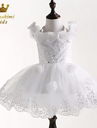 Girl White With Flower Classical Princess Flower Girl Dress