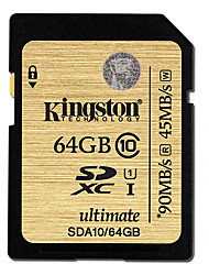Kingston Digital 64GB SDXC Classe 10 UHS-I final Memória Flash Card SDA10/64GB