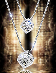 Women's 925 Sterling Silver Crystal Square Style Pendant Clavicle Necklace (16'',silver)