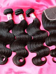 venta caliente cuerpo armadura brasileña del pelo de la onda, pelo virginal brasileño 12-26inch con cierre