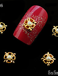 026 5*5mm 10PCS Lucky Clover Pearl Alloy Metal Nail Golden Color DIY Nail Art for Fashion Women Jewelry Decoration