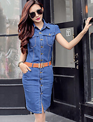 Women's Bodycon/Casual Inelastic Short Sleeve Knee-length Dress (Denim)