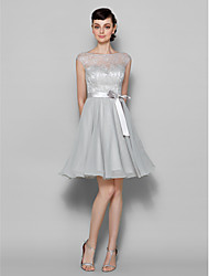 A-Line Bateau Neck Knee Length Chiffon Lace Bridesmaid Dress with Lace by LAN TING BRIDE®