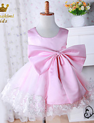 Girl Pink Satin Lace Embroidered Hand-made Princess Dress