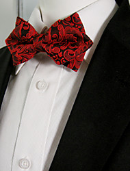 Men's Casual Plain Red Pre-tied Ajustable Wedding Silk Blend Fashion Bow Tie