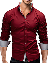Men's Casual/Work/Formal/Plus Sizes Striped/Pure Long Sleeve Regular Shirt (Cotton)