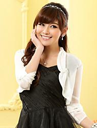 Wedding Wraps Long Sleeve Chiffon/Polyester Thin Boleros Black/White Bolero Shrug