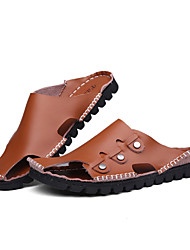 Men's Shoes Casual Leather Sandals Brown/White/Navy