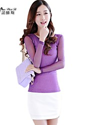 NUO WEI SI  Women's High Neck Solid Color Bodycon T-Shirt