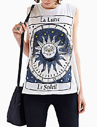 Women's Punk Crew Neck Unique Letter Sun Moon Tribe Totem Printed Casual Loose Tank Top