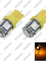 2X  Yellow T10 5 SMD 5050 LED Car Instrument Reading Lamp Side Light Bulb DC 12V A007