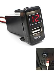 5v 2.1a carro usb porta dashboard voltímetro carregador de telefone para toyota vigo especial
