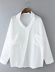 Women's Solid White Shirt Short Sleeve