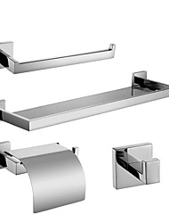 Polish Stainless Steel Bath Hardware Set with Towel Ring Toilet Paper Holder with Lid Glass Shelf and Robe Hook