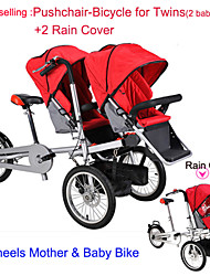 Whole Set Pushchair-Bicycle for Twins +2 Rain Cover Ruituo™ Convertible Stroller 3 in 1 Carriage Stroller 3 Wheels Bike