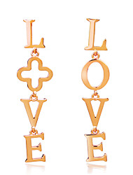 Fashion Trend New Gold Colored LOVE Letter Earrings