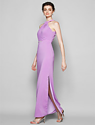 Lanting Ankle-length Satin Chiffon Bridesmaid Dress - Lilac Plus Sizes / Petite Sheath/Column Halter