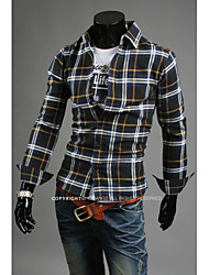 Hot Sell Summer Style 2015 Brand Long-Sleeve Shirt Men Clothes Plaid Shirts Men