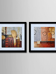 Oil Painting Modern Abstract Hand Painted Canvas with Stretched Framed - Set of 2