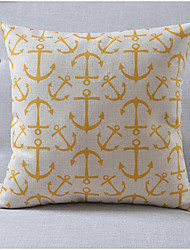 Country Style Anchor Pattern Cotton/Linen Decorative Pillow Cover