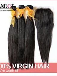6a cabelo virgem malaio não transformados em linha reta com fecho 3 pacotes com fecho de 4 * 4 laço tecer cabelo humano com fecho