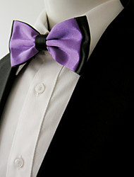 Men's Purple Black Solid Pre-tied Ajustable SilkBlend Wedding Dress Fashion SilkBlend Bow Tie