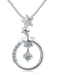 jazlyn® femme plaqué platine 925 étoiles d'argent sterling cercle cube collier pendentif de zircone pour le cadeau